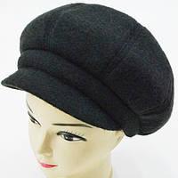 """Шерстяные женские шапки """"Кепка 8-клинка"""" (черный)"""
