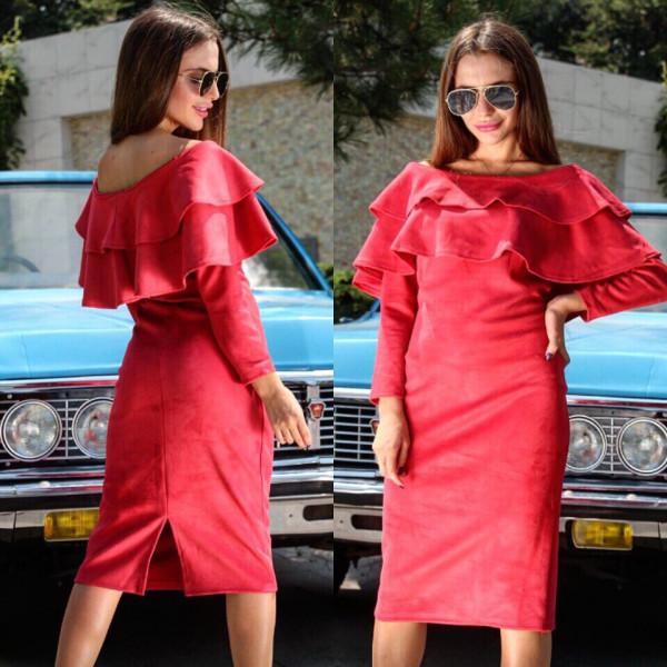 """Очаровательное женское платье ткань """"Эко-Замш"""" 44 размер норма"""