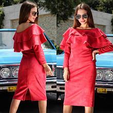 """Очаровательное женское платье ткань """"Эко-Замш"""" 42, 44 размер норма"""