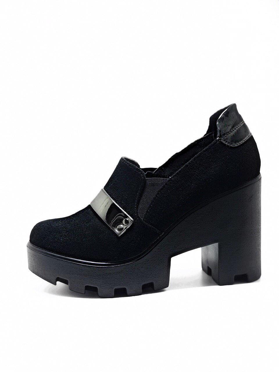 Ботинки женские черные на каблуке осень весна из натуральной замши