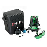 ✅ Уровень лазерный INTERTOOL MT-3008 (5 лазерных головок, зеленый луч, звуковая индикация)