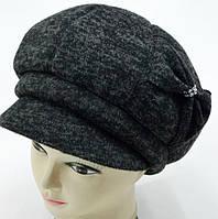 """Шерстяные женские шапки """"Кепка бонт"""" (черно/серый)"""