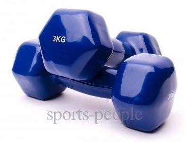 Гантели для фитнеса виниловые 2 шт., по 3 кг.