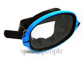 Маска для плавания Акванавт, закаленное стекло, синяя с черным.