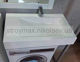 Умивальник над пральною машиною Shelly 800Х500Х110 мм з литого каменю з комплектом кріплення до стіни, білий
