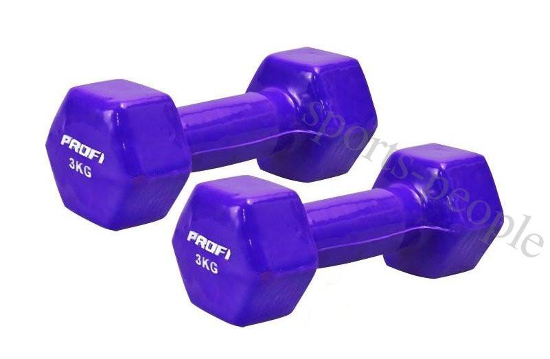 Гантели для фитнеса Prof MS 0289, виниловые 2 шт., по 3 кг, разн. цвета