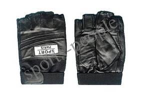 Перчатки для фитнеса, велосипеда, тяжелой атлетики, Sport Paris, кожзам, размеры: М, L, ХL