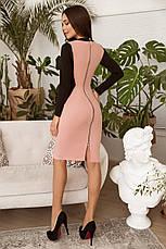 Двухцветное приталённое платье с декоративной змейкой сзади и длинным рукавом, №158, пудра, фото 2
