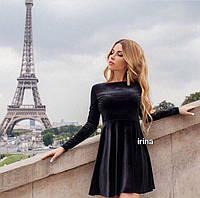 Женское осеннее зимнее коктейльное короткое платье бархат черный бордо бутылка 42-44 44-46, фото 1