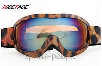 Маска горнолыжная NICE FACE 9027, женская, леопардовый цвет., фото 1