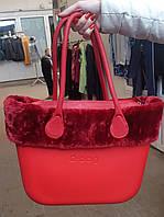 Женская сумка O bag classic с манжетом в красном корпусе