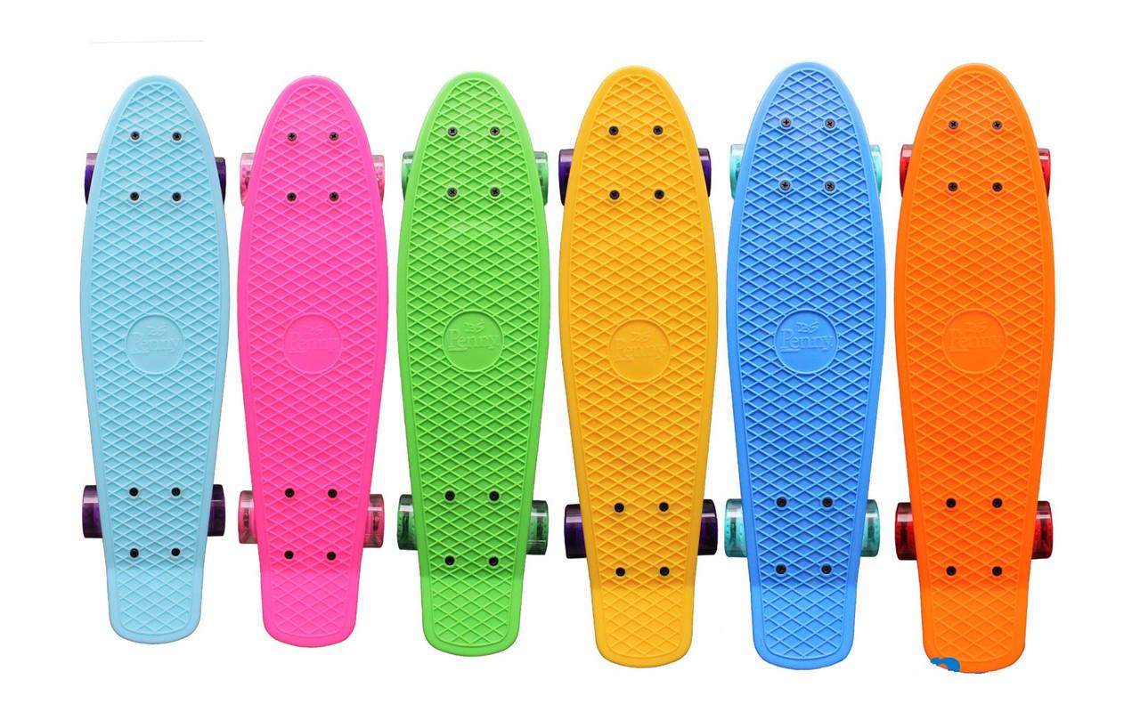 """Пенни борд/Penny Board Original 22, с надписью """"Penny"""", светящиеся колеса, разн. цвета."""
