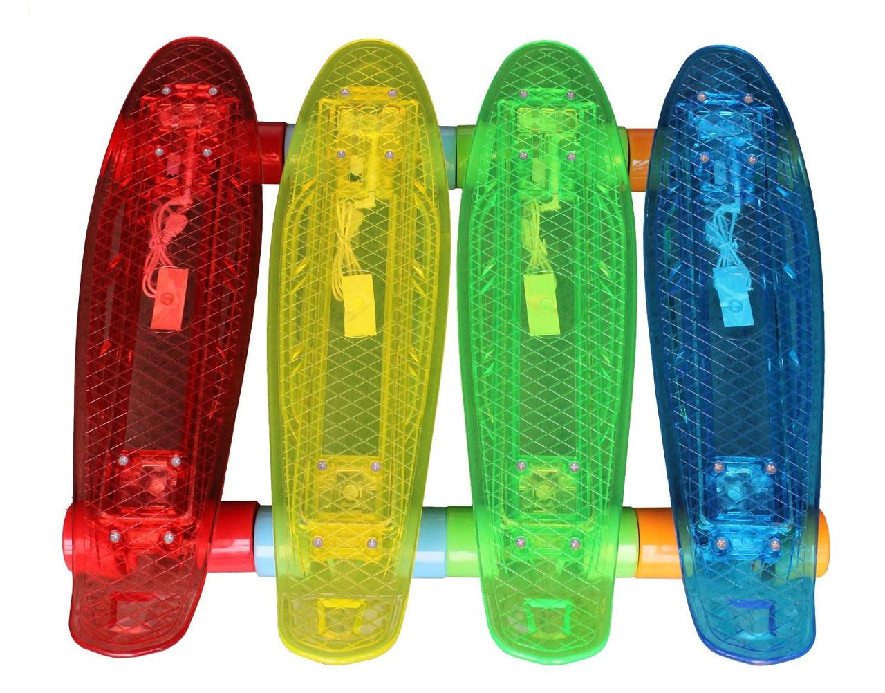 Пенни борд/Penny Board Original 22, светодиодная доска+USB кабель в комплекте, разн. цвета.