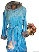 Плюшевый халат голубого цвета р.46