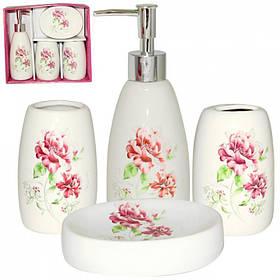 Набор аксессуаров для ванной комнаты S&T 4 предмета Полевые цветы 887-06-017