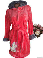 Красный плюшевый халат на змейке с поясом р.50
