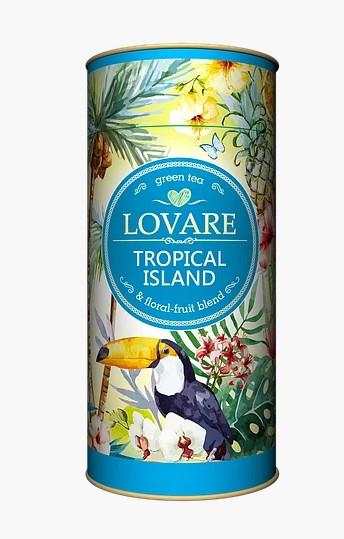 Чай Lovare Tropical Island зеленый листовой с ананасом и апельсином 80 грамм в подарочной упаковке