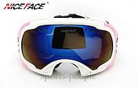 Маска гірськолижна NICE FACE 926, білий з рожевим., фото 1