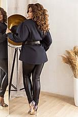 Стильный комплект из облегающих брюк и коттоновой рубашки с широким поясом, №172, тёмно-синий/чёрный, фото 2