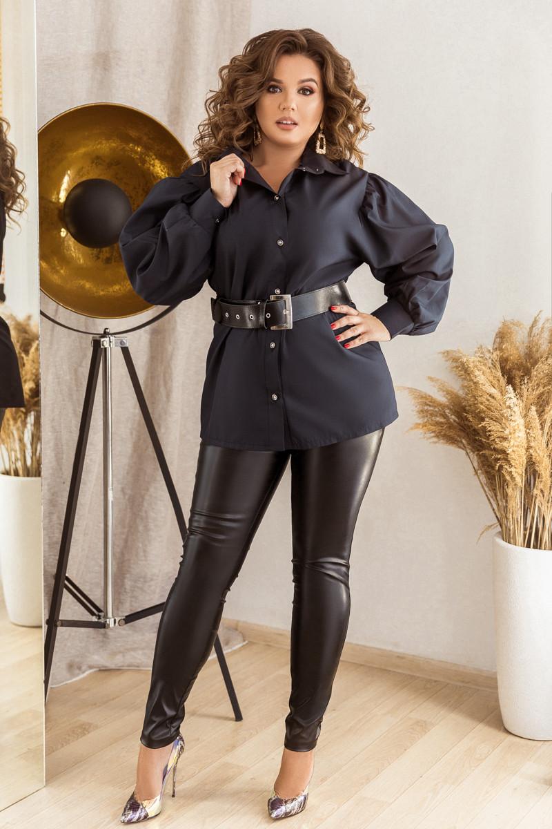 Стильный комплект из облегающих брюк и коттоновой рубашки с широким поясом, №172, тёмно-синий/чёрный