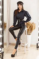 Стильный комплект из облегающих брюк и коттоновой рубашки с широким поясом, №172, тёмно-синий/чёрный, фото 3