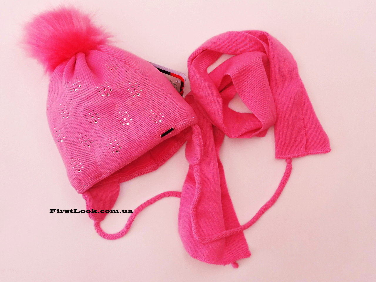 Детский комплект шапка и шарф на флисе,размер(2-3 года)