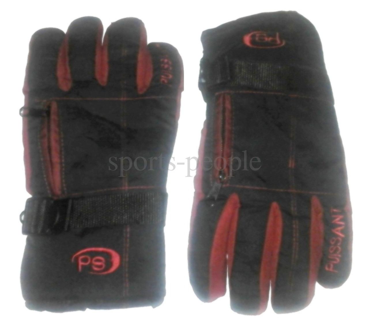 Перчатки горнолыжные Puissant, L, с карманом на застежке, черный с красным.