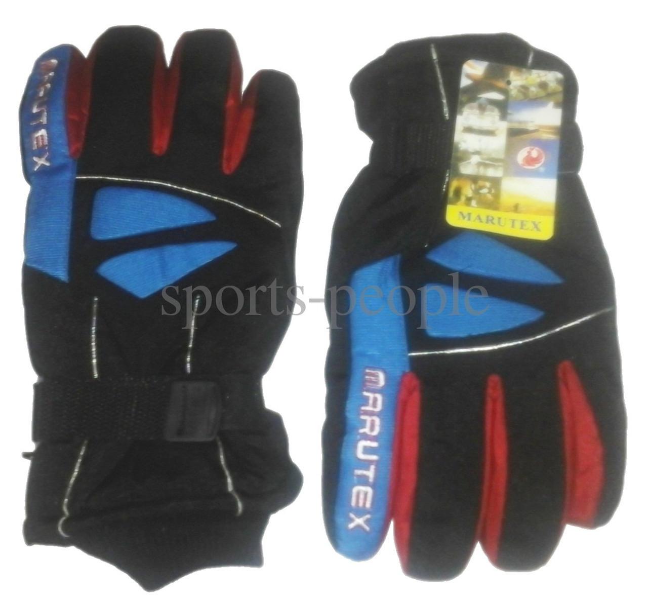 Перчатки горнолыжные Marutex, L, черный+красный+синий цвет.