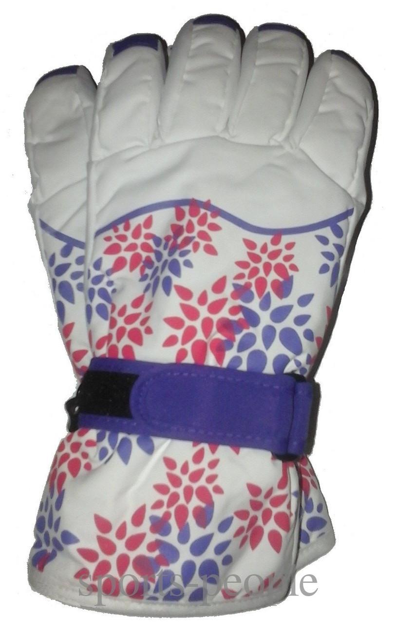 Перчатки горнолыжные Puissant, женские, с цветами, М, белый фон.