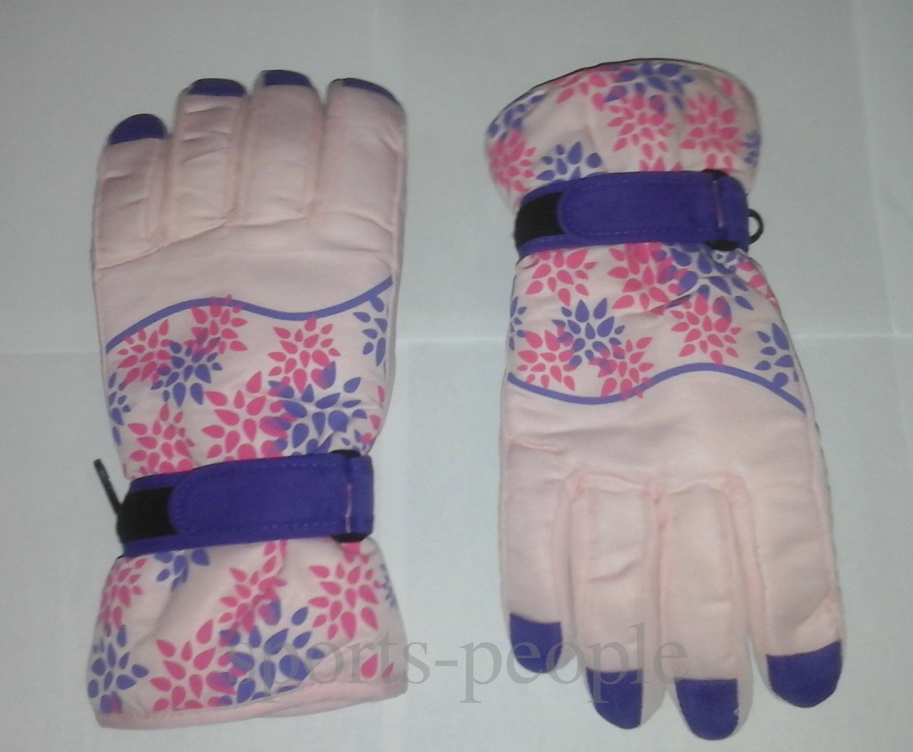 Перчатки горнолыжные Puissant, женские, с цветами, М, розовый фон.