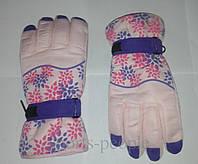 Перчатки горнолыжные Puissant, женские, с цветами, М, розовый фон., фото 1