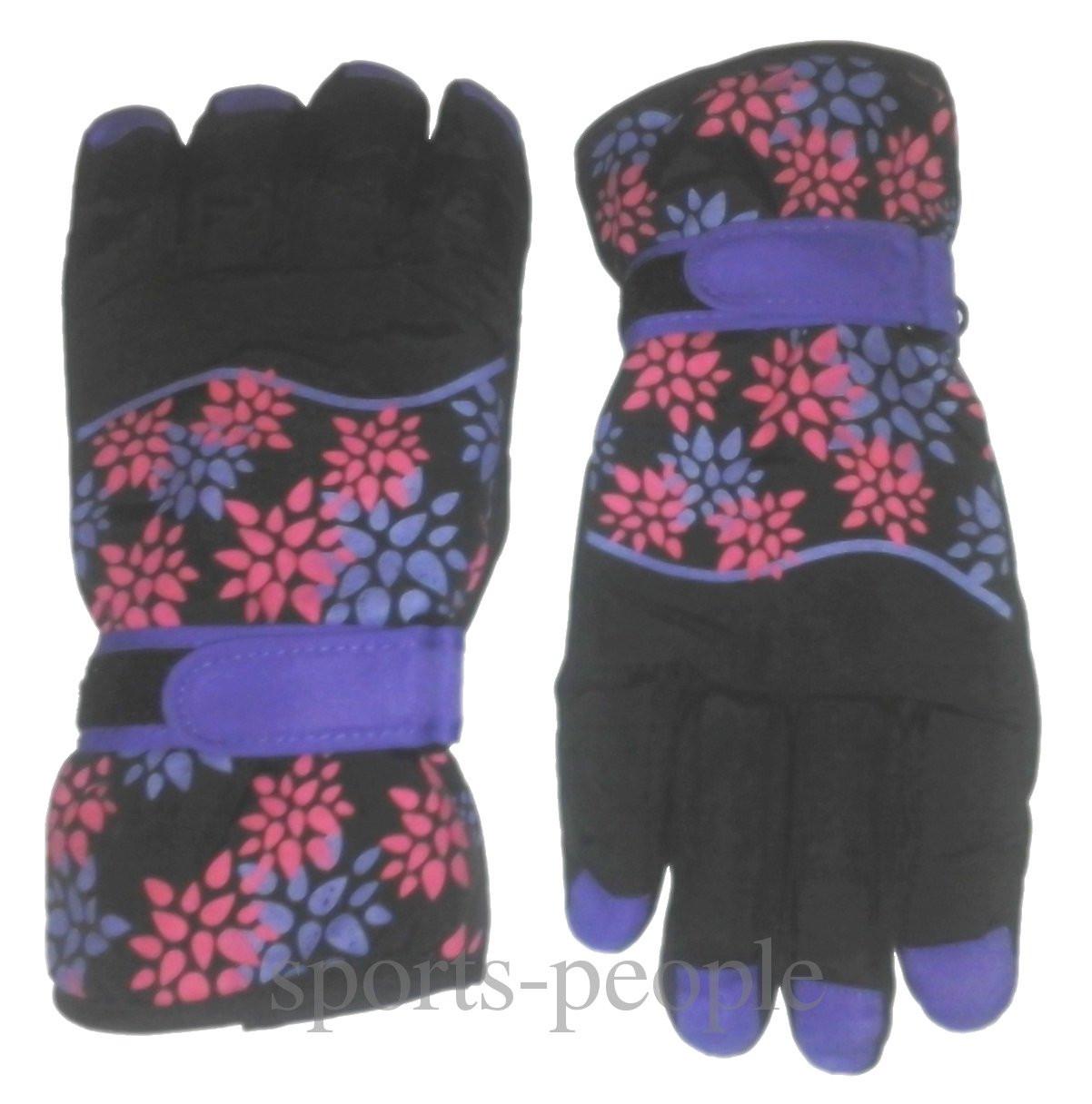 Перчатки горнолыжные Puissant, женские, с цветами, М, черно-сиреневый фон.