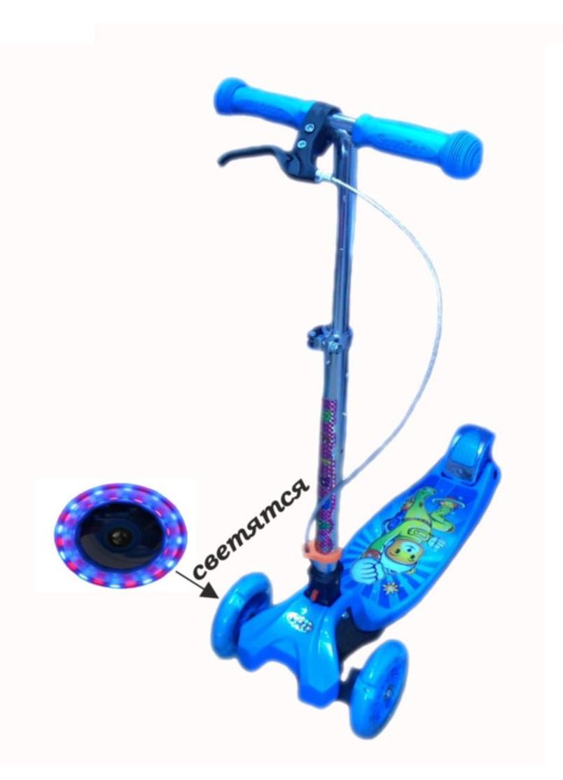 Трехколесный самокат Scooter Mini Hand brik, +ручной тормоз, светящиеся колеса, разн. цвета.