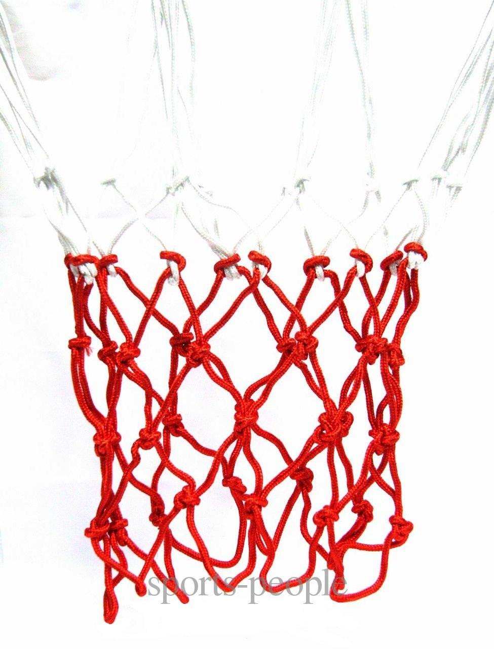 Сетка баскетбольная, в комплекте 2 шт., белая с красным»