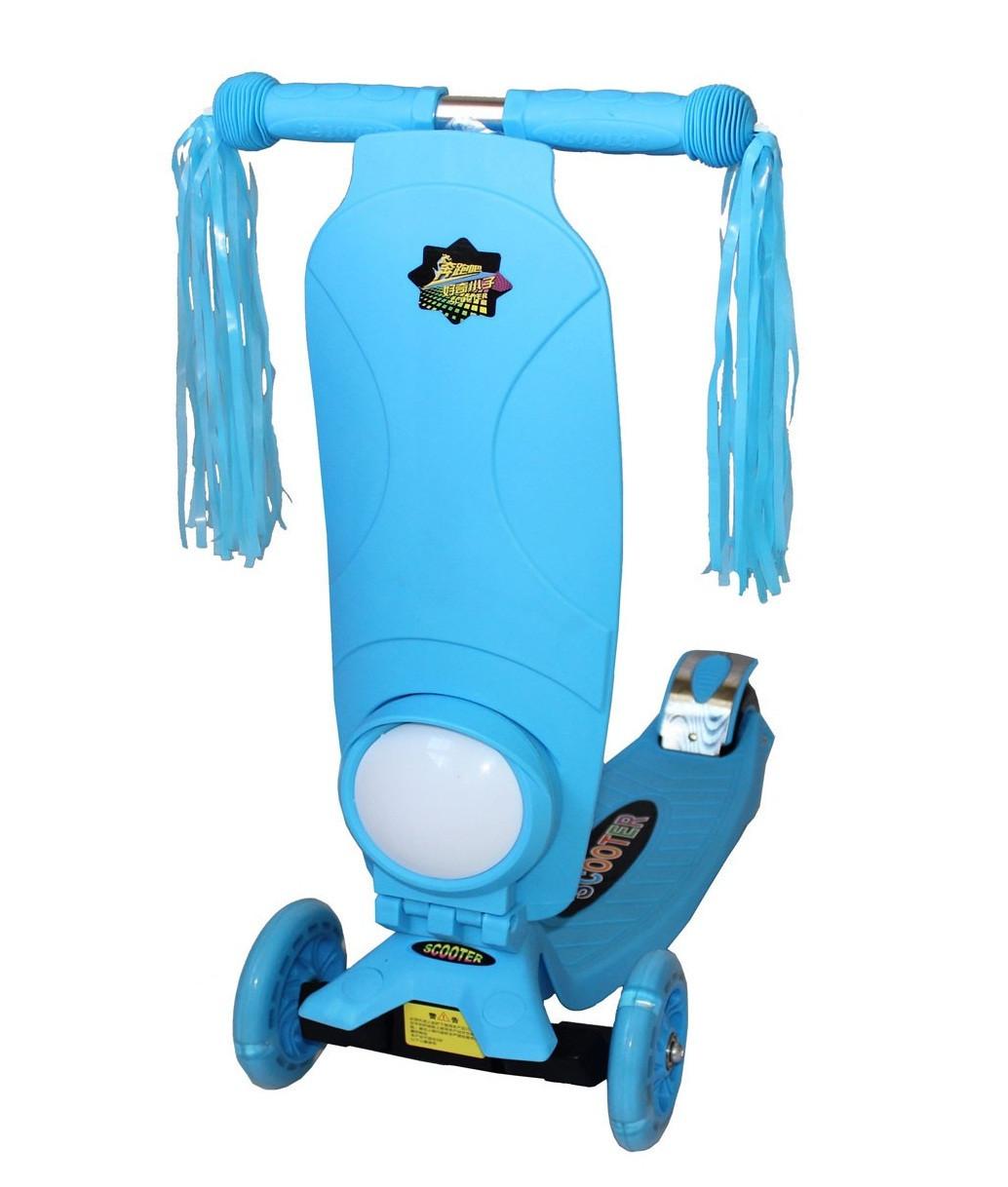 Трехколесный самокат Scooter Maxi music, +фонарик, место для рюкзака, колеса светятся, разн. цвета.