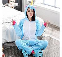Пижама Кигуруми Единорог Голубой (M), фото 1