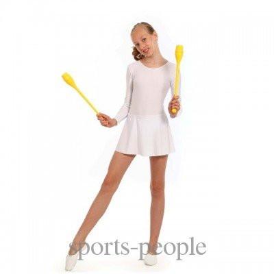 Купальник с длинным рукавом, с юбкой, для гимнастики и танцев, эластик, S, M, L (рост 1.10-1.34), разн. цвета