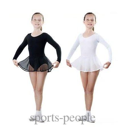 Купальник для гімнастики з довгим рукавом, спідниця-пачка, еластик, розміри: S, M, L (зростання 1.10-1.34), білий