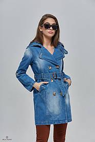 Модный женский плащ-тренч из джинса   размеры 42-52