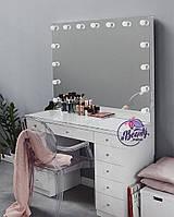 """Стол для визажиста """"Кристалл"""", гримерное зеркало с подсветкой,туалетный столик для макияжа, белый"""