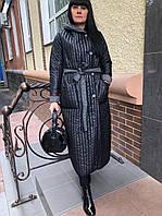 Пальто длинное двустороннее черное и серое Alberto Bini 6033