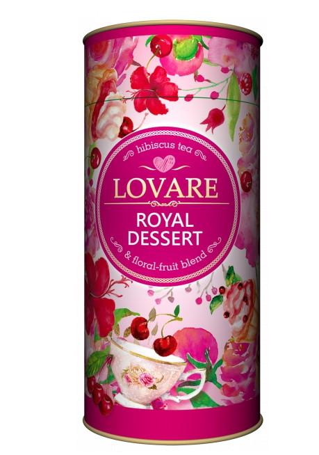 Суміш квіткового і фруктового чаю Lovare Royal Dessert з шматочками фруктів 80 грам в подарунковій упаковці