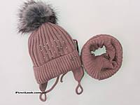 Зимний детский комплект шапка и снуд на девочку.(3-5 лет), фото 1