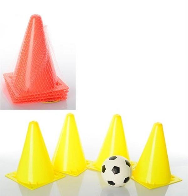 Конус-бар'єр М1059, для тренувань, 4 конуса + гумовий м'яч в комплекті, різном. кольори