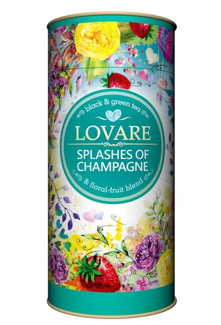 Черный и зеленый чай Lovare Splashes of Champagne с клубникой листовой 80 грамм в подарочной упаковке
