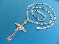 Серебряная Цепь Якорь 65,0 см на 50 грамм + Большой Крест