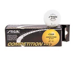 Мячи для настольного тенниса STIGA COMPETITION 3*, 40 mm, (3 шт.)