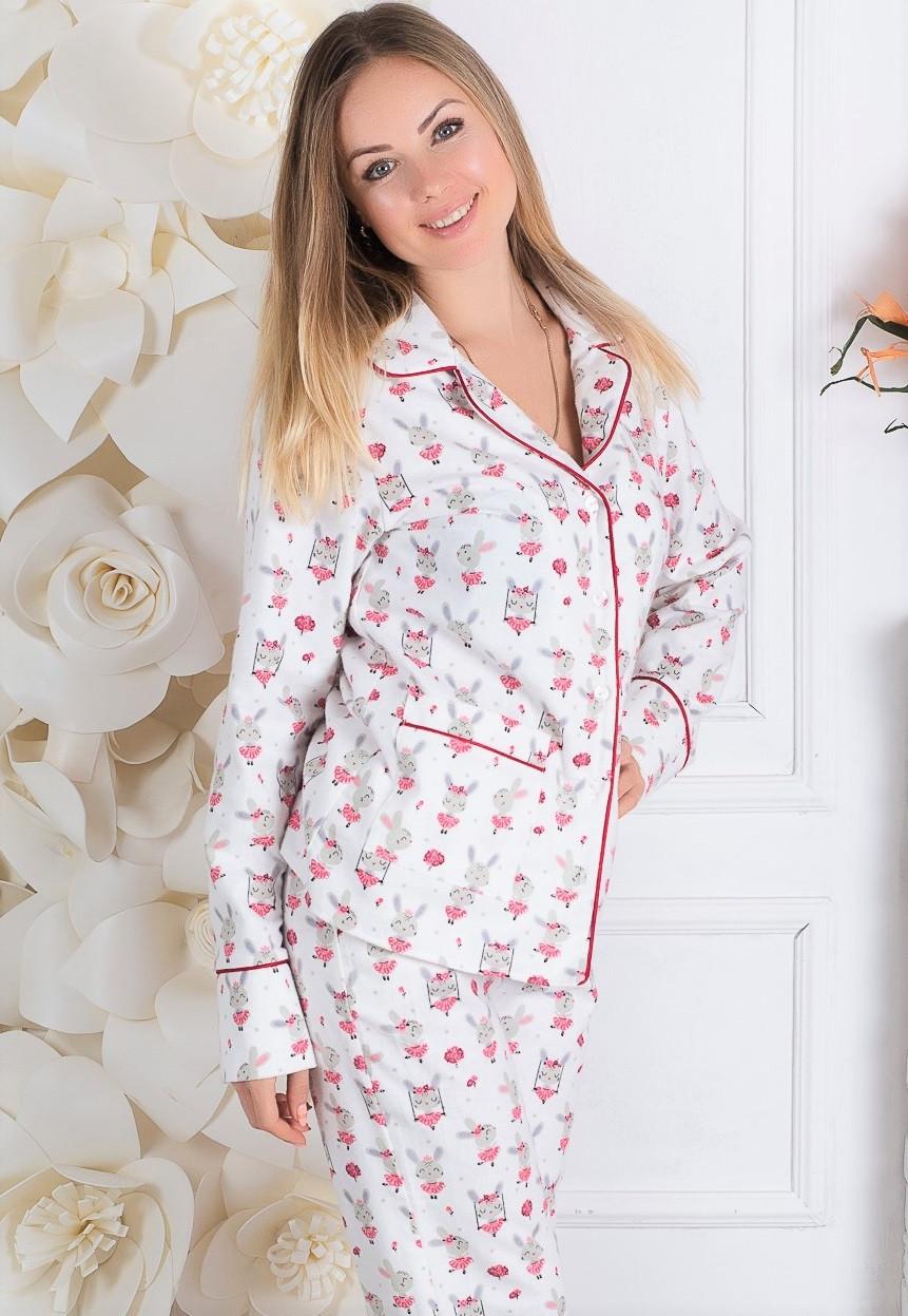 Фланелевая пижама женская, домашний костюм кофта с брюками