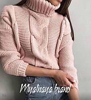 Женский зимний осенний теплый свитер под горло вязка белый,черный хаки горчица пудра серый бежевый 42-46, фото 1
