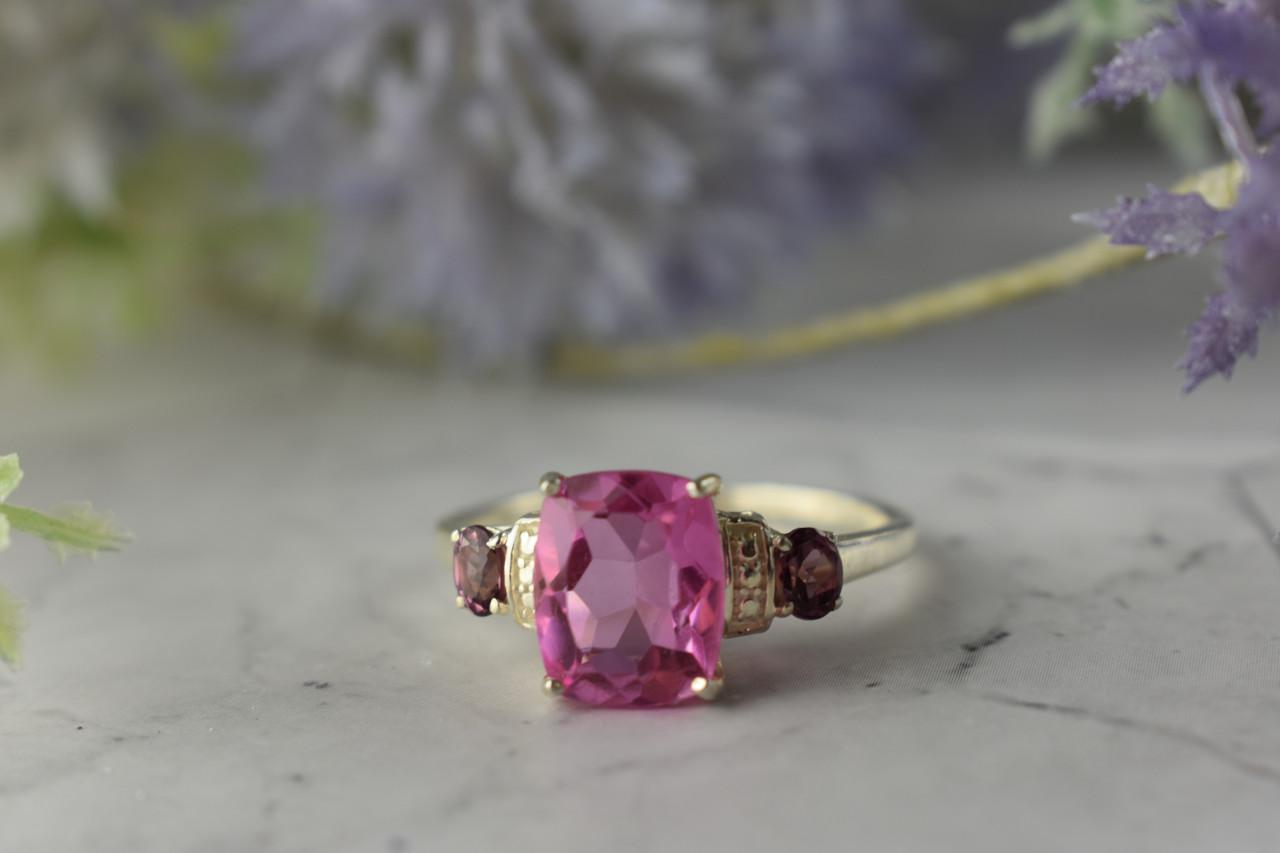 Серебряное кольцо с Морганитом и камнями Рубеллит